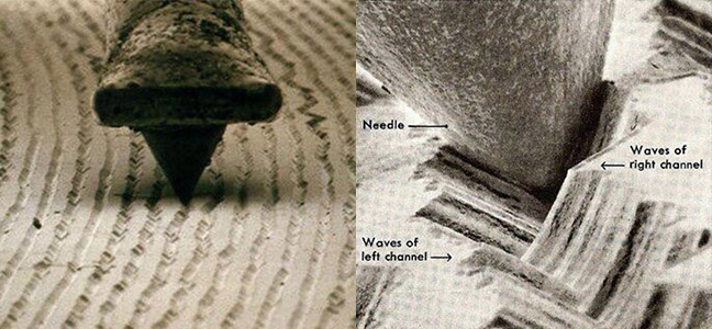 Stylus in groove on a record