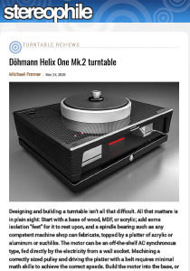 Stereophile Döhmann Helix One Mk.2 turntable Review March 2020